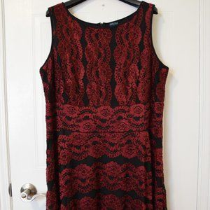 Gabby Skye Black and Red Lace Dress- Size 16W
